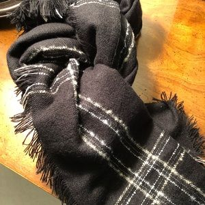 Black w/white/silver/gold  threads blanket scarf
